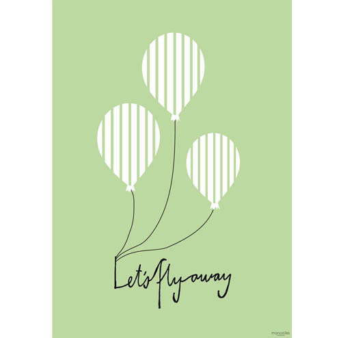 Poster Balloon let's flyaway Green