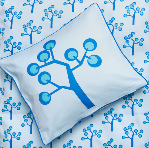 Junior bedding Cover - Graphic tree blue