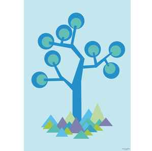 Poster illustration tree blue