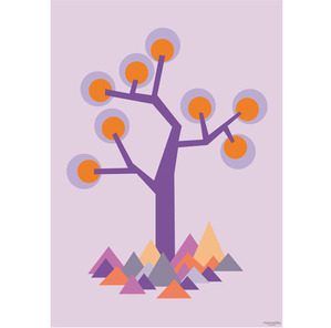 Poster illustration tree purple