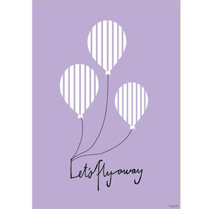 Poster Balloon let's flyaway Purple